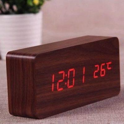 Светодиодные электронные часы VST- 862 + датчик температуры и дата. Дизайн в виде бруска дерева.